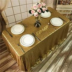 Idea Regalo - Tovaglia con lustrini dorati, tovaglia per banchetto nuziale, runner da tavola, varie dimensioni (personalizzabile), Altro, Gold, 90