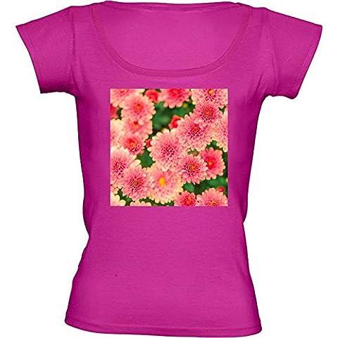 Camiseta Cuello Redondo para Mujer - Dalias Rosadas Flores Floral by Petra