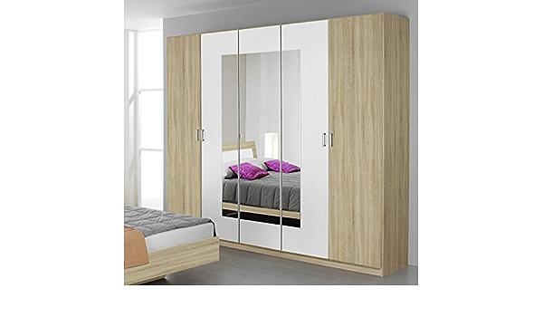 Trevi Rauch 5 Porta 3 Armadio A Specchio Incernierato In Rovere Sonoma Con Una Finitura Bianco Alpino Dettagliato Amazon It Casa E Cucina
