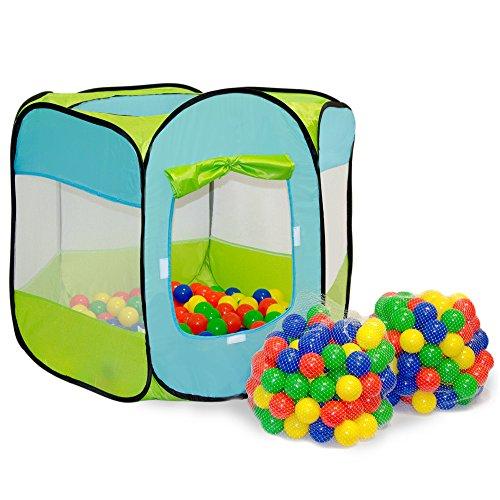 LittleTom Bällebad Zelt 200 Baby Bälle Spielzelt 100x100x72cm Popup Spielhaus - Hunde Bällebad Für