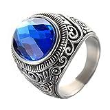 PMTIER Hombres Acero Inoxidable Vendimia Grabado Patrón Anillo De Piedras Preciosas Azul Real 22