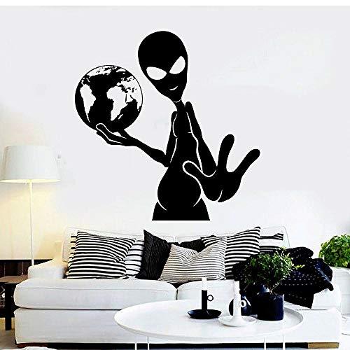 MRQXDP Alien Earth UFO Vinyl Wandtattoo Jugendzimmer Wandaufkleber Für Wohnzimmer Große Kinderzimmer Wandaufkleber selbstklebend 57x58 cm dorm Papel De Parede