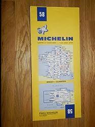 carte routière michelin n°58 BREST - QUIMPER