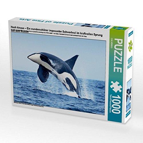 Hoch hinaus – Ein wunderschöner imposanter Schwertwal im kraftvollen Sprung aus Dem Wasser 1000 Teile Puzzle Quer