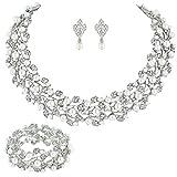 EVER FAITH österreichischen Kristall künstliche Perle elegant Halskette mit Anhänger Ohrring Schmuck-Set Klar Silber-Ton N04466-1