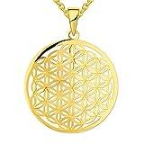 JO WISDOM Damen Kette Blume des Lebens Silber 925 Halskette Anhänger ( Weißgoldfarbe) (Gelbgoldfarbe)