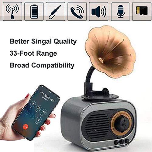 JIASHU Retro Bluetooth Stereo, Wireless Stereo Retro Lautsprecher Hd Sound Leistungsstark und Lautstärkeregler Tf-Karte MP3-Player für Küche Schlafzimmer Schreibtisch Regal,Gray (Leistungsstarke Mp3-player)