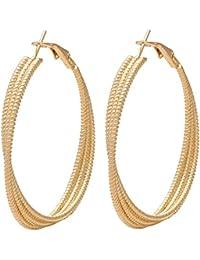 DzineTrendz Brass Gold Plated Hoop Bali Earring For Women Brass Hoop Earring