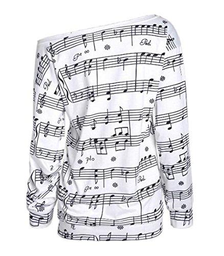 AILIENT Chic T-shirt Femme Manche longue Note de Musique Imprimé Sweat-Shirt Casual Hauts Blouse Slim Fit Tops white