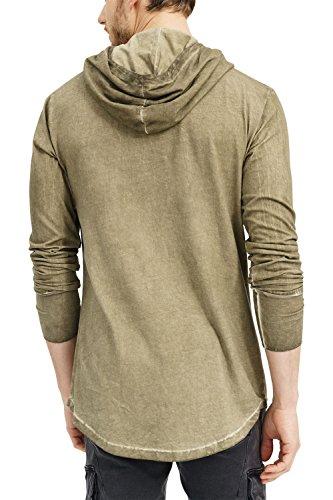 trueprodigy Casual Herren Marken Long Sleeve Einfarbig Basic, Oberteil Cool und Stylisch mit Kapuze (Langarm & Slim Fit), Langarmshirt für Männer in Farbe: Khaki 1063177-0629 Khaki
