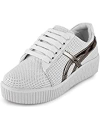 Scantia Women/Girls Casual Trendy Sporty Shoes with Stylish look New Latest Fashionable Casual shoes comfortable to Wear with Attractive look Shoes for Party or Carry in Daily Life-White And Silver _(Hurry Bumper Valentine Offer on Scantia Collection)