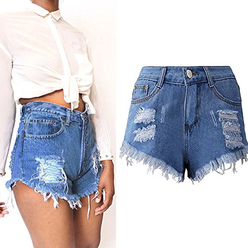PINEsong Frau Quaste Loch Shorts Low Waist Jeans Denim Kurze Hosen Mode Hot Pants (S, Blau)