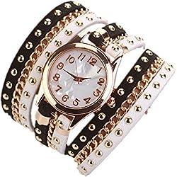 Sunnywill Neue Mode Crystal Nieten Armband geflochten wickeln Wrap Quarz Armbanduhr für Frauen Mädchen Damen