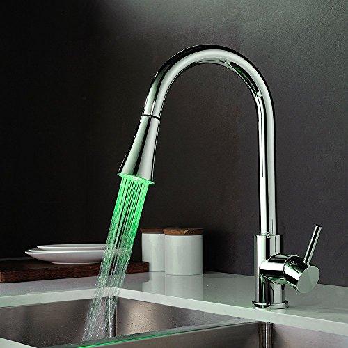 Homelody – Küchenarmatur mit LED-Beleuchtung, herausziehbar und 360° drehbar, Chrom - 3
