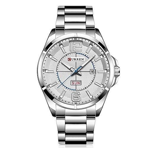 CURREN Quarzuhr für Männer, Kalender und Woche zeigen, wasserdicht Edelstahl Uhr, japanische Bewegung, PU-Material-Armband, beste Männer / Freund Geschenk (Silber-weiß)