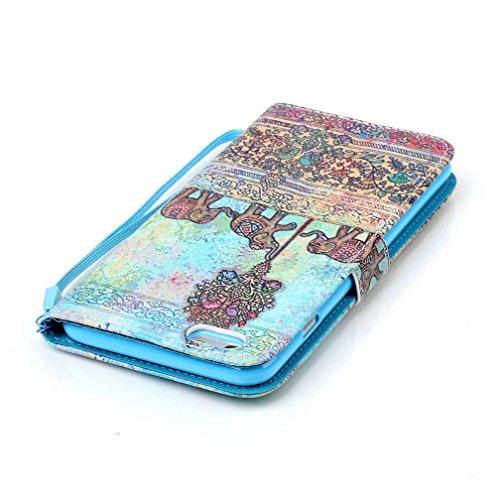 KATUMO® Hülle für Apple iPhone 6/6S Plus, Flip Cover Premium Ultra Thin PU Leder Wallet Case iPhone 6 Plus Handy Tasche Brieftasche Schale mit Kartenfächern und Standfunktion,Schiefer Turm Grauer Elefant