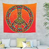 Tapiz de pared con símbolo de la paz y mandala, hippy, decoración de pared para...
