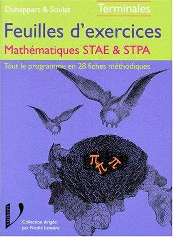 Les exercices corrigés : mathématiques STAE, STPA
