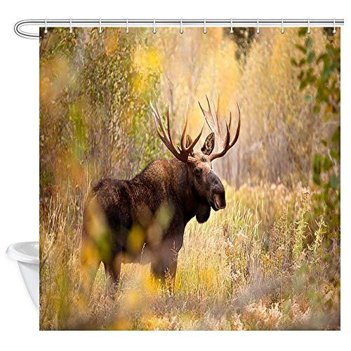 hänge, Wild Brown Bighorn Hirsch, Elch im Dschungel, Einsame Rentier Badvorhang, Polyester Stoff Badezimmer Vorhang mit 12 Haken, 177,9 x 177,8 cm ()