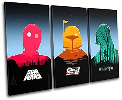 Bold Bloc Design - Star Wars Pop Art Movie Greats TREBLE Canvas Art Print Box Framed Picture Wall Hanging - Hand Made In The UK - Framed And Ready To Hang