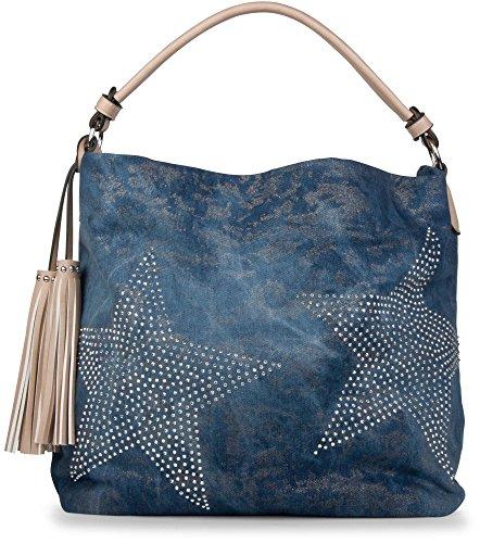 Blaue Nieten-handtasche (styleBREAKER Jeans Beuteltasche mit Stern Strass Applikation im schimmernden Antik-Look, Schultertasche, Damen 02012035, Farbe:Blau-Hellbraun)