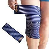 Bande Bandelette Sangle Bandage Strapping Elastique - Compression Contention Maintien Support Attelle Orthese - (Bande Genou Bleu 180x7,5 cm)