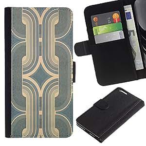 Ledertasche Brieftasche Flip Karten-Beutel Weich-Halter HandyHülle für Apple Iphone 6 PLUS 5.5 / CECELL Phone case / / Art Deco Vintage Wallpaper Teal Blue Worn /