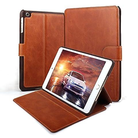 Coque iPad mini 1 2 3,Mulbess Étui Housse en Cuir Avec Support Bureau pour Apple iPad mini 1/2/3 7.9 inch,Format Livre Horizontale Emplacements pour Cartes - Cognac Brun