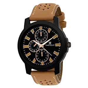 TIMEWEAR Analogue Men's Watch (Black Dial Brown Colored Strap)