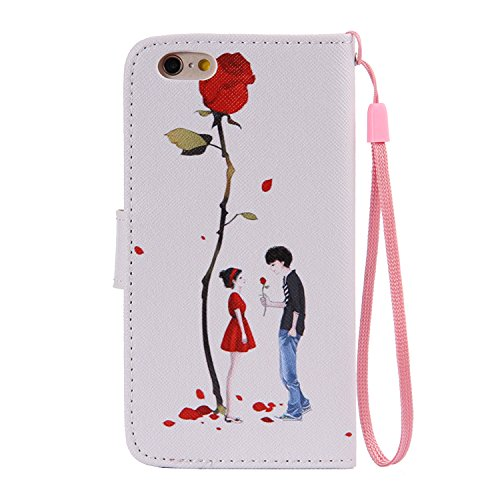 iPhone 6 Wallet Case,iPhone 6S Coque - Felfy Flip-style Magnetic Closure Étui Portefeuille Housse Book Style Full Body Coloré Peint Motif Dragonne Portefeuille Lanyard PU Cuir Coque Etui(Minou) + 1 x  Couple Rose