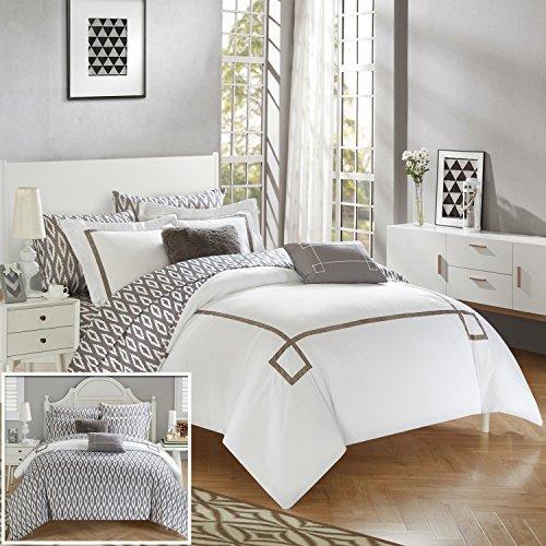 Chic Home cs2937-an 9Stück Trace modernes Griechischer Schlüssel bestickt wendbar Bett in einem Beutel Tröster Set mit Tabelle Set, King, Grau (Moderne Bett In Einem Beutel)