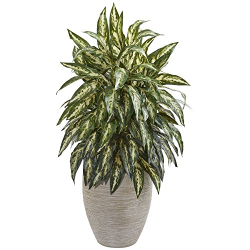Nearly Natural 8198 Aglaonema Kunstpflanze aus Seide, Sandfarben