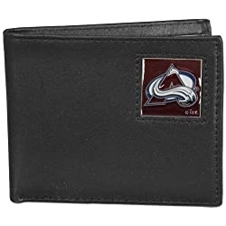 NHL Colorado Avalanche Leather Bi-Fold Wallet Packaged in Gift Box, Black