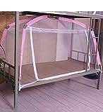 Moskitonetz, für Mädchen, für Einzelbett, Studenten, Schlafsaal oben und unten mit Reißverschluss, Moskitonetz, Betthimmel (Farbe: Blau, Größe: A 1,95 x 0,9 x 0,95 m), rose,...