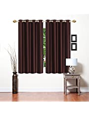 Blexos Heavy Plain Crush Window Curtain 5 Feet - Set of 2 (Coffee)