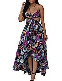 Vestido de Mujeres Bohemia sin Espalda V-Cuello Largo Vestido de la Playa