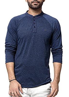 Zeyo mens henley full sleeve tshirt stylish navy blue milanch - regular fit front button t shirts for men