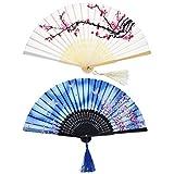 2 Piezas Abanicos Plegables Portátil Abanicos de Mano de Bambú con Borlas Abanicos de Bambú de Hueco de Mujeres para Decoración de Pared, Regalos (Patrón de Cereza Blanca y Mariposa Azul)