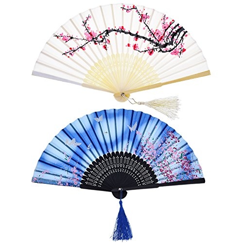 Hotop 2 Piezas Abanicos Plegables Portátil Abanicos de Mano con Borlas Abanicos de Bambú de Hueco de Mujeres para Decoración de Pared, Regalos (Patrón de Cereza Blanca y Mariposa Azul)