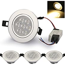 4pcs Auralum® 7W LED de luz de techo blanco caliente 2800-3200K ahorro de energía LED de la lámpara empotrada de techo redondo de colores planos de plata AC85-265V Aluminio + PC