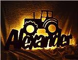 Schlummerlicht24 Lamparilla de noche El tractor como decoración para el dormitorio o la sala, regalo ideal para aficionados a los Tractores , hecho a mano