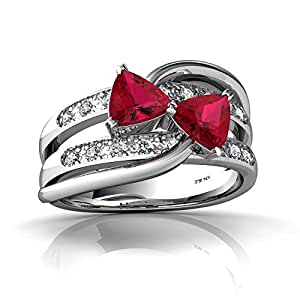 Or blanc 585/1000 Triangle Rubis Bague Taille 60