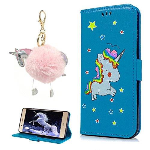 Cover iPhone 7 8 Pelle, E-Unicorn Custodia Apple iPhone 7 8 Pelle Portafoglio Flip Cover a Libro Rosso Unicorno Modello Disegno Brillantini Glitter Case [Supporto Stand][Slot per Schede] TPU Silicone Blu