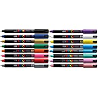 Uni Posca PC-1MR Assorted Colour Pack Paint Marker Pens Ultra Fine 0.7mm Calibre Tip Nib Writes On Any Surface Glass Metal Wood Plastic Fabric (1 Of Each Colour - 16 Pens)