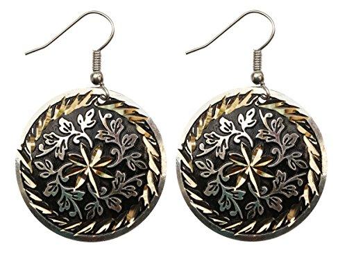 SouvNear Coppia di rotondo dischi gancio orecchini pendenti in ottone con motivo floreale, colore: nero, argento e oro tono-Donna Gioielli e Accessori/regali per lei