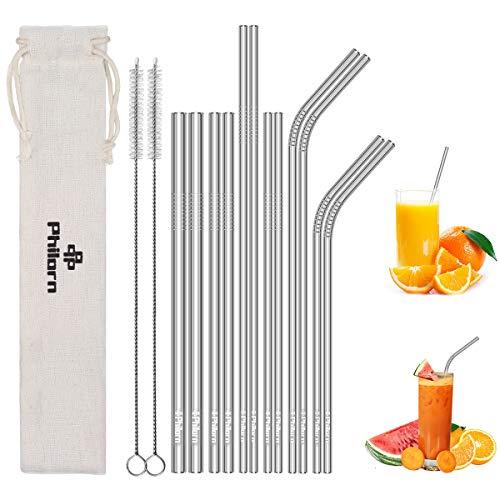 """PHILORN Edelstahl Strohhalme 12 Stück - 4 Gebogenen & 8 Geraden (8,5\""""/10,5\"""" Ultra Lang, 6/8/10mm Extra Breit) Metall Strohhalm Wiederverwendbar, Trinkhalme mit Bürsten für 20oz /30oz Tasse - BPA-frei"""