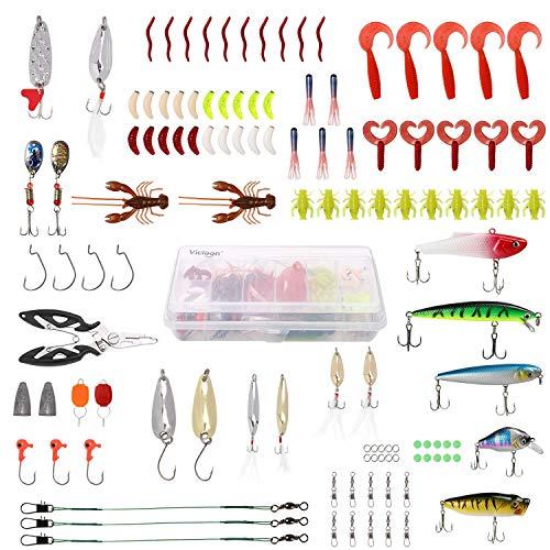 Vicloon 110 Stücke Angeln Köder Kunstköder Set, Drillinge, Einzelhaken, Höhenhaken,Wirbel, Vorfächer, Zangen, etc. für Süßwasser-Salzwasser-Fischen