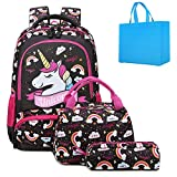 Unicorn Rucksack for Girls Students School Bookbag Casual Daypack Water Resistant School Backpack Teen Girls Back to Schoolbag Set with Lunch Bag Pencil Case (Brown)