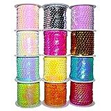12 Pack Rollos de Lentejuelas (4m) - Carretes de Lentejuelas Brillantes, Colores Variados para Manualidades con Lentejuelas - Patrones para Vestidos, Decoraciones de Brazaletes - Artes y Manualidades