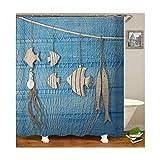 MaxAst Fisch Duschvorhang Anti Schimmel, Blau Badewanne Vorhang 180x180CM, Antibakteriell Wasserdicht mit Kunststoff Ringe Kein Rost